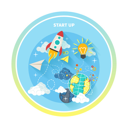 Business research start up idea template. Start up rocket idea. New business project start up, launching new product or service in flat design Vector