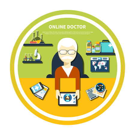 Doctor sitting in a chair at the table holding tablet device and mobile medical distance monitoring online in flat design isolated