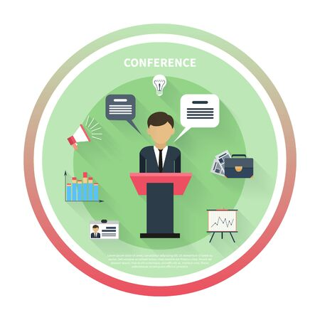 financial plan: Flat design concept of businessman presenting development and financial plan on meeting conference