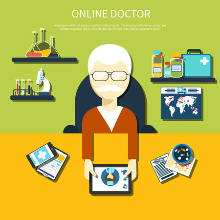doctor tablet: Doctor sitting in a chair at the table holding tablet device and mobile medical distance monitoring online in flat design isolated
