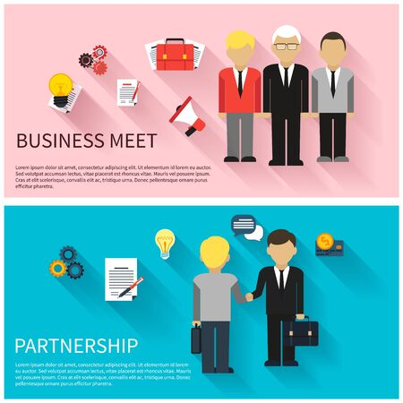 discussion: Concept for business meeting, teamwork, partnership with handshake and discussion at the meeting of businessmen in suits Illustration