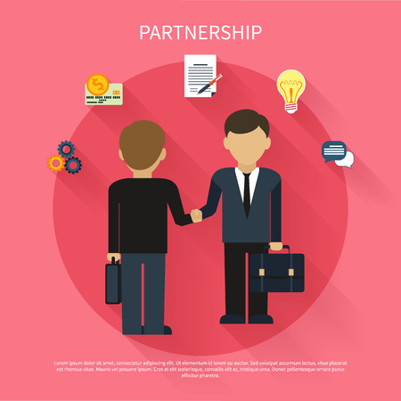 hand pen: Partnership concept. Businessmen on business meeting. Two man do handshake in flat design