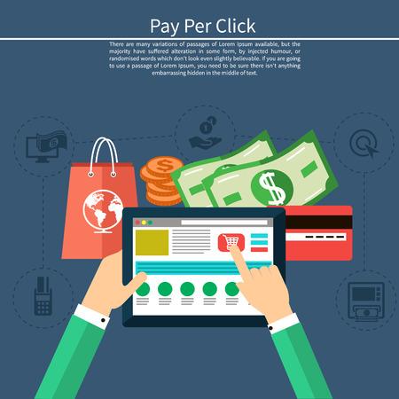 dollaro: Pay per click modello internet advertising quando l'annuncio viene cliccato. Monitor con pulsante Acquista moderno design piatto stile cartoon