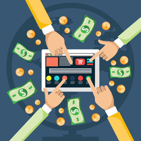 website traffic: Pay per click internet advertising model when the ad is clicked. Monitor with button buy modern flat design cartoon style Illustration