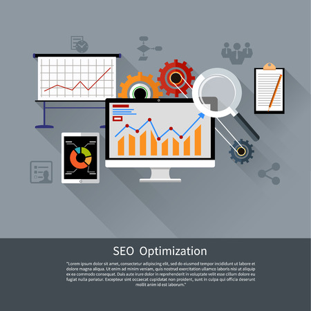 SEO otimização, processo de programação e web analytics elementos no design plano Ilustração