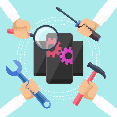 Mobile Service-Konzept. Smarthone mit Werkzeugen. Reparatur-Smartphone electronic. Hände mit Werkzeugen für die Reparatur Telefon. Wohnung Symbol modernen Design-Stil-Konzept