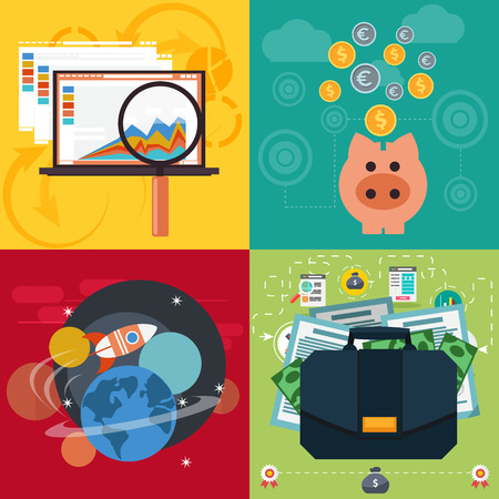 winning money: Set of business icons seo analysis piggy bank space with rocket case with dollars and documents flat design style
