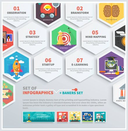 Icons infographic of headwork, strategy planning, business tools start up observation creative team mind mapping brainstorm e-learning time is money. Concept of different icons in flat design