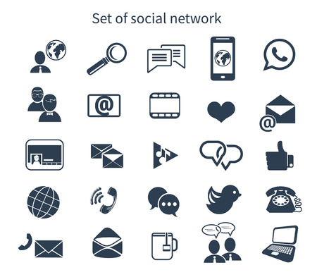 global links: Set of social network icons with links bird seo cloud search message bubble like hand links follower people network chat heart symbol and contact in black color isolated on white Illustration
