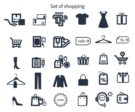 gift basket: Collection of shopping icons such as tag, sticker, basket, bag, clothes rack, gift in black color isolated on white background