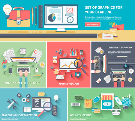optimize: Concepts set of graphics for your dedline, work on the project, market analysis, creative teamwork, search engine optimization and online shopping. Flat icon modern design style Illustration