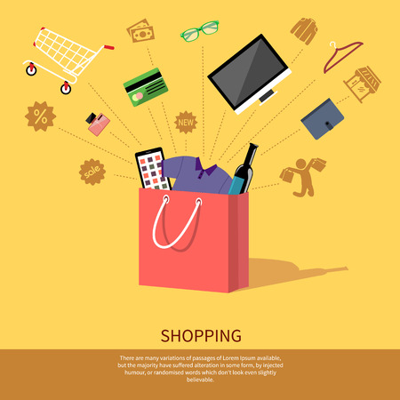 Concept for online shopping and e-commerce with shopping bag full of goods with discount and colorless shopping pictograms Vettoriali