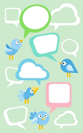 chat room: Social media communication network concept. Set of different birds with bubble cartoon design style