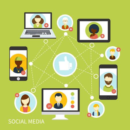 médias: Social concept de connexion multimédia de réseau avatar dans les appareils numériques. Les gens dans un réseau social. Concept de réseau social dans la conception plat. Globe avec les visages de beaucoup de gens différents