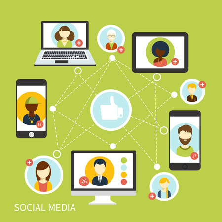 Social media avatar network connection concept in digital device. People in a social network. Concept for social network in flat design. Globe with many different peoples faces Çizim