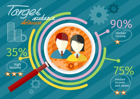 demographics: Target audience infographic with magnifying glass and man and woman icon inside chart. Income rating concept. Flat icon modern design style concept