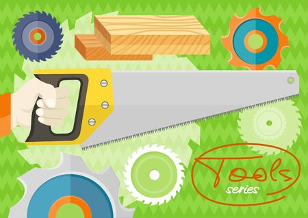 metal cutting: Hand saw for wood and metal cutting on stylish background. Tools series. Flat icon modern design style concept Illustration