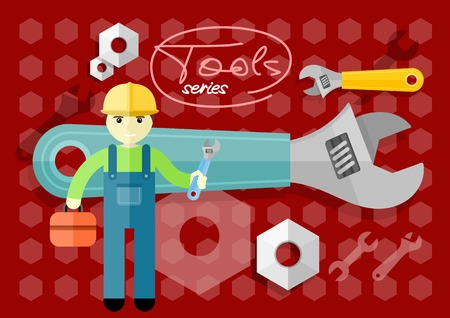 Man, person with toolbox and wrench in hands. Engineer character. Flat icon modern design style concept Vector