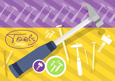 impact tool: Hammer and nails, hammer, tool. Tools series. Flat icon modern design style concept