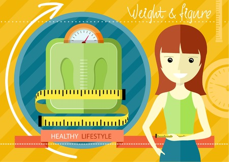 fatness: Woman measuring her slim body. Flat design colorful concept for keeping fit, weight loss, fitness, dieting, nutrition regime, healthy lifestyle on stylish background
