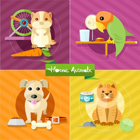 Icon set with home animals silhouettes of pets on multicolor stylish banners. Hamster, parrot, cat and dog in flat design cartoon style Vettoriali