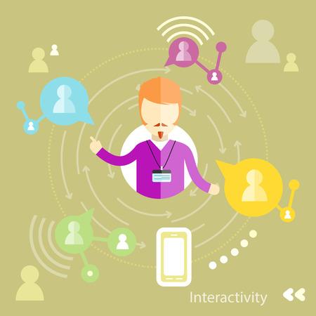 interakcje: Businessman interactions by social media interactiv with business partners. Interactivity concept in flat design