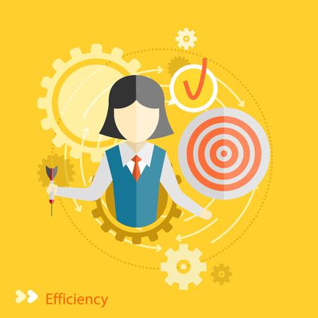 Concepto de eficiencia en diseño plano. Engranajes del trabajo en equipo con el concepto de destino