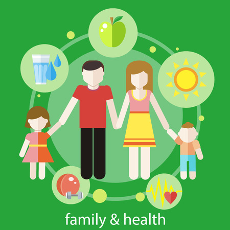 healthy family: Set of healthy icons in flat design around famile. Healthy family concept