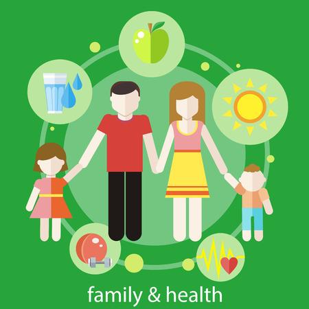 Set von gesunden Symbole in flache Bauform rund famile. Gesunde Familienkonzept