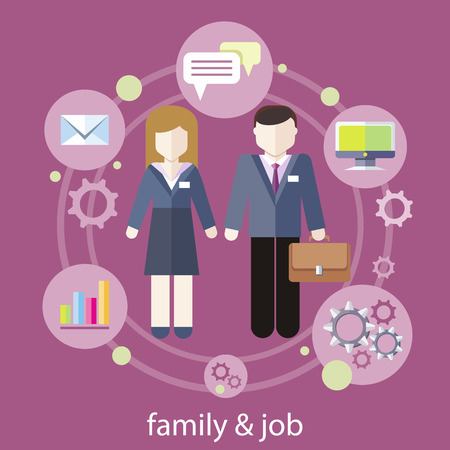 work life balance: Set of business job icons in flat design around famile. Job family concept. Balance between work and family life