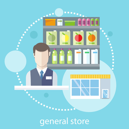 Supermarket general store. Shelfs with food and potables near seller in flat design style