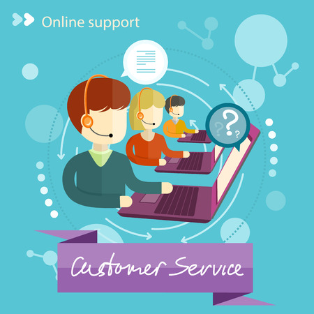 Customer service representative at computer in headset. Online support. Cartoon phone operator. Individual approach. Support centerand. Customer support interactivity in flat design concept Çizim