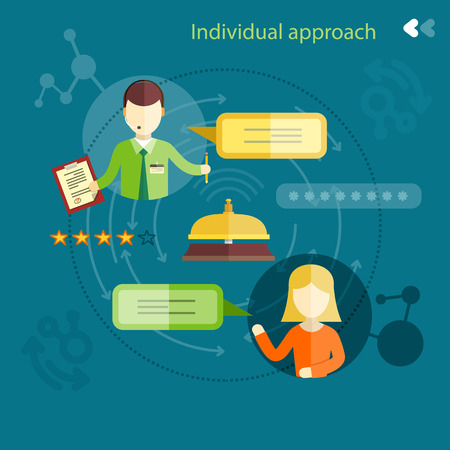 Individual approach ranking. Man and woman with clipboard and bubbles in flat design Illustration