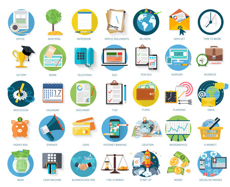 efectivo: Conjunto de iconos de negocio para invertir, oficina, apoyo en dise�o plano aislado en fondo blanco