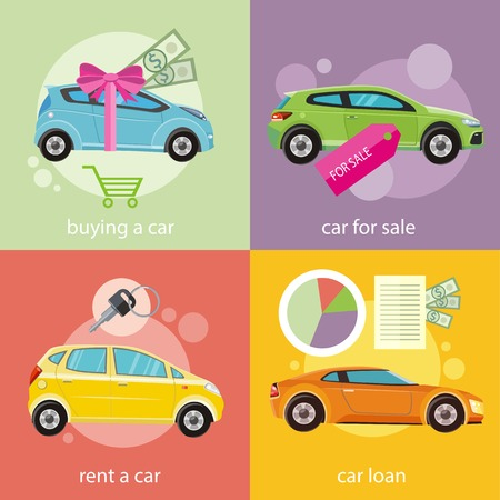 rent: Car loan approved document with dollars money. Buying car concept. Gift car and red ribbon with dollars money. Car sale. Rent a car concept in flat design