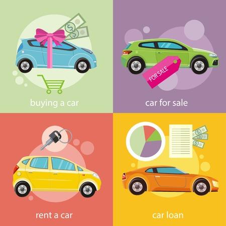 Préstamo de coches documento con el dinero de dólares aprobado. Concepto de compra de coche. Coche de regalo y cinta roja con el dinero de dólares. La venta de coches. Alquilar un coche de concepto en diseño plano Ilustración de vector