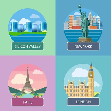 silicio: Big Ben y puente de Westminster, Londres, Reino Unido. Edificio de oficinas en Silicon Valley. Estatua de la Libertad, Ciudad de Nueva York. Torre Eiffel, París. Francia. Posters concepto en estilo de dibujos animados con el texto