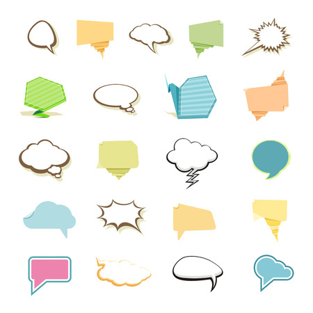 chat bubbles: Set of comic bubbles and elements in different style on white background cartoon design style Illustration