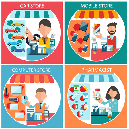 pharmacist: Flat design concept of car, mobile, pharmacist and computer store wit item icons on four multicolor banners