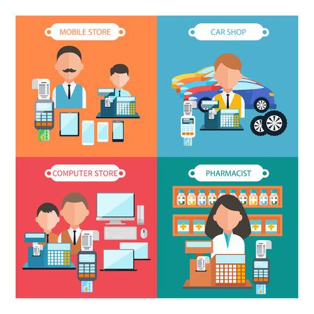 vendedor: Concepto de dise�o plano de tienda de coches, atore m�vil, farmac�utico y tienda de inform�tica iconos de elementos ingenio en cuatro banderas multicolores