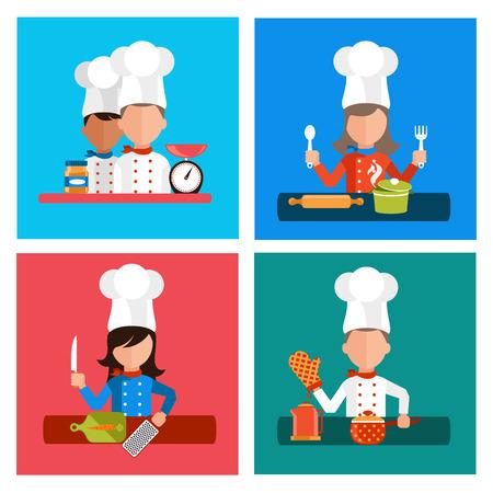 �cooking: Piso Iconos del concepto de dise�o de utensilios de cocina con un chef en pancartas. Herramientas de cocina y equipo de cocina, sirven comidas y elementos de preparaci�n de alimentos. Chef y herramienta de car�cter