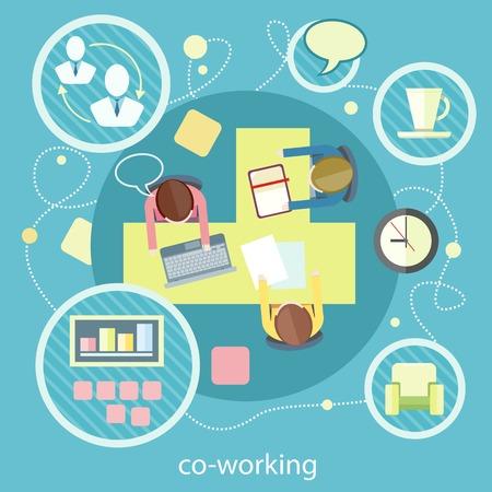 コワーキングのコンセプトです。共同作業項目のアイコン。フラットなデザインでのビジネス会議平面図です。共有作業環境