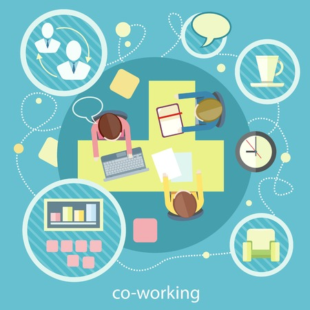 Coworking concept. Co-working item icons. Business meeting top view in flat design. Shared working environment Stock Illustratie