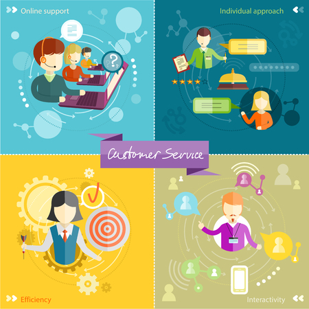 interactivity: Customer service representative at computer in headset. Online support. Cartoon phone operator. Individual approach. Support centerand efficiency. Customer support interactivity in flat design concept on four banners Illustration