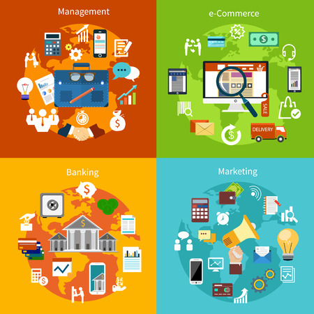 Concept set for e commerce, online banking, marketing business and management flat design on multicolor banners
