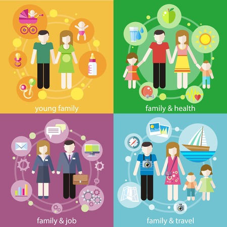 parenting: Family with children kids people concept icons set of parenting in flat design styly. Baners of young family, famile and health, famile and job, famile and travel for infographic