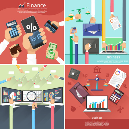 Stock exchange rates on monitors. Hands with various business elements. Background with various business elements in flat design on multicolor banners