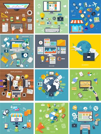 market place: Shoping and different goods. Modern marketing process. Analysis and searching. International business travel by airplane. Programmer at working place witn equipment. Working process of business team in flat design Illustration