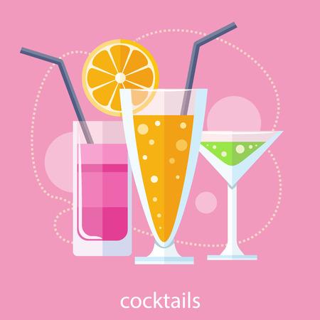 cocteles de frutas: C�ctel de jugo de bebida de frutas en el estilo de dise�o plano. C�cteles de vacaciones de estilo retro. Conjunto de c�cteles sin alcohol