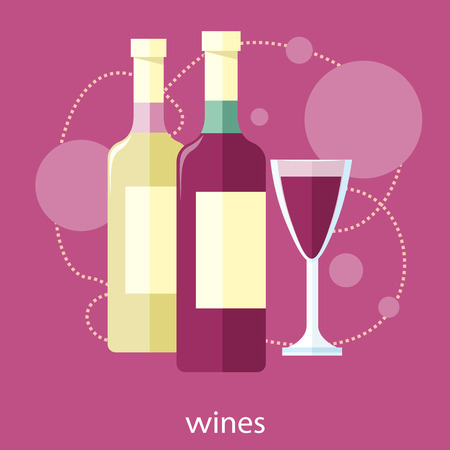 drink bottle: Wine glass and bottle. Vines item icons in flat design style on stylish background